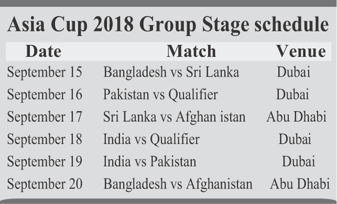 Tigers to face SL in Asia Cup opener on Sept 15